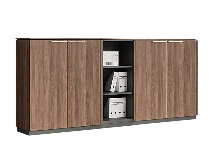 Status-Executive-Furniture-Range-4-Doors-Closed-Storage-Cabinet-with-Open-3-Level-Bookcase-in-Lowland-Nut-Finish
