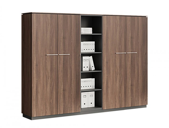 Status-Executive-Furniture-Range-4-Doors-Closed-Storage-High-Cabinet-with-Open-5-Level-Bookcase-in-Lowland-Nut-Finish
