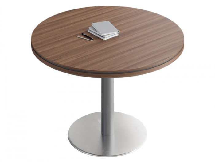 Status-Executive-Furniture-Range-Circular-Coffee-Table-with-Metal-Base-in-Lowland-Nut-Finish