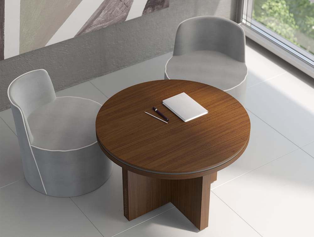 Status-Executive-Furniture-Range-Circular-Meeting-Table-with-Panel-Leg-in-Chestnut-Finish