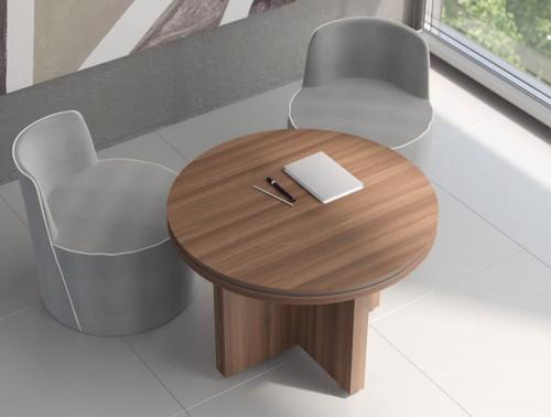 Status-Executive-Furniture-Range-Circular-Meeting-Table-with-Panel-Leg-in-Lowland-Nut-Finish
