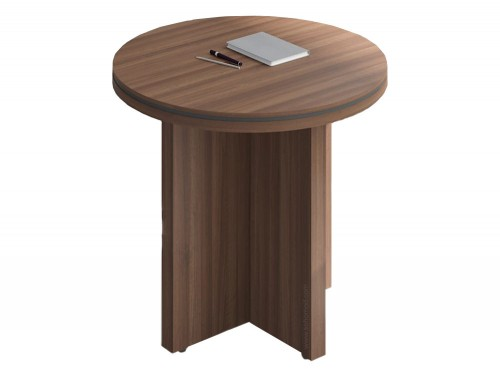 Status-Executive-Furniture-Range-High-Round-Coffee-Table-with-Panel-Legs-in-LowlandNut-Finish