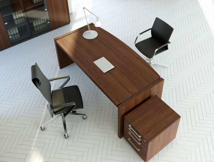 Status-Executive-Office-Bow-Front-Desk-with-Pedestal-Glass-Storage-in-Lowland-Nut-Finish-and-Black-Chair
