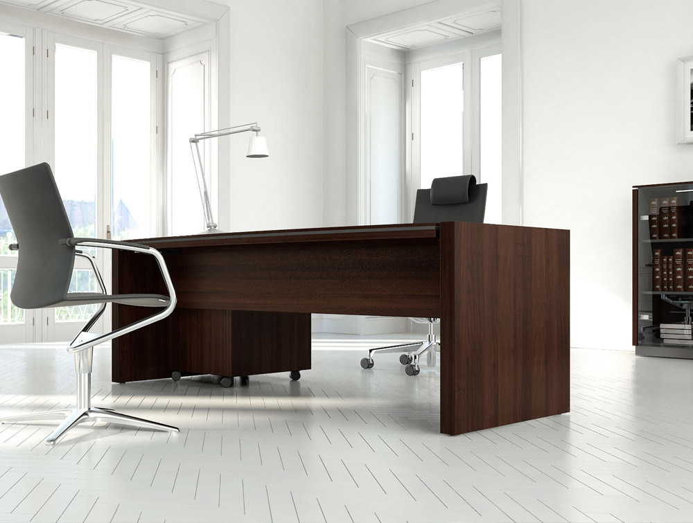 Status-Executive-Office-Straight-Desk-with-Glass-Storage-in-Chestnut-Finish-and-Black-Chairs-