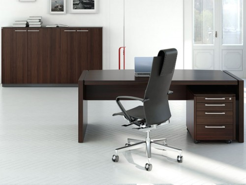 Status-Executive-Straight-Desk-with-Pedestal-Storage-Cupboard-in-Chestnut-Finish-and-Black-Ergonomic-Chair-