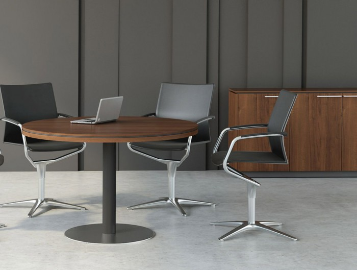 Status-Meeting-Round-Table-Anthracite-Base-with-executive-Storage-Cupboard-in-Lowland-Nut-Finish-and-Black-Chairs