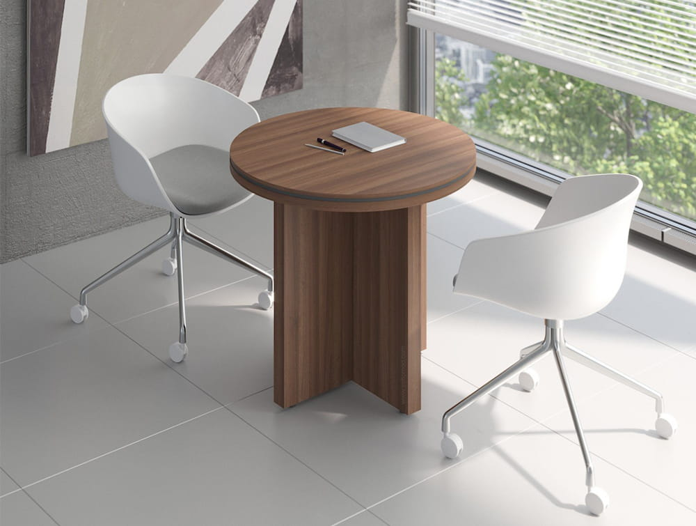 Status-Narrow-Round-Meeting-Table-with-Panel-Leg-Base-in-Lowland-Nut-Finish