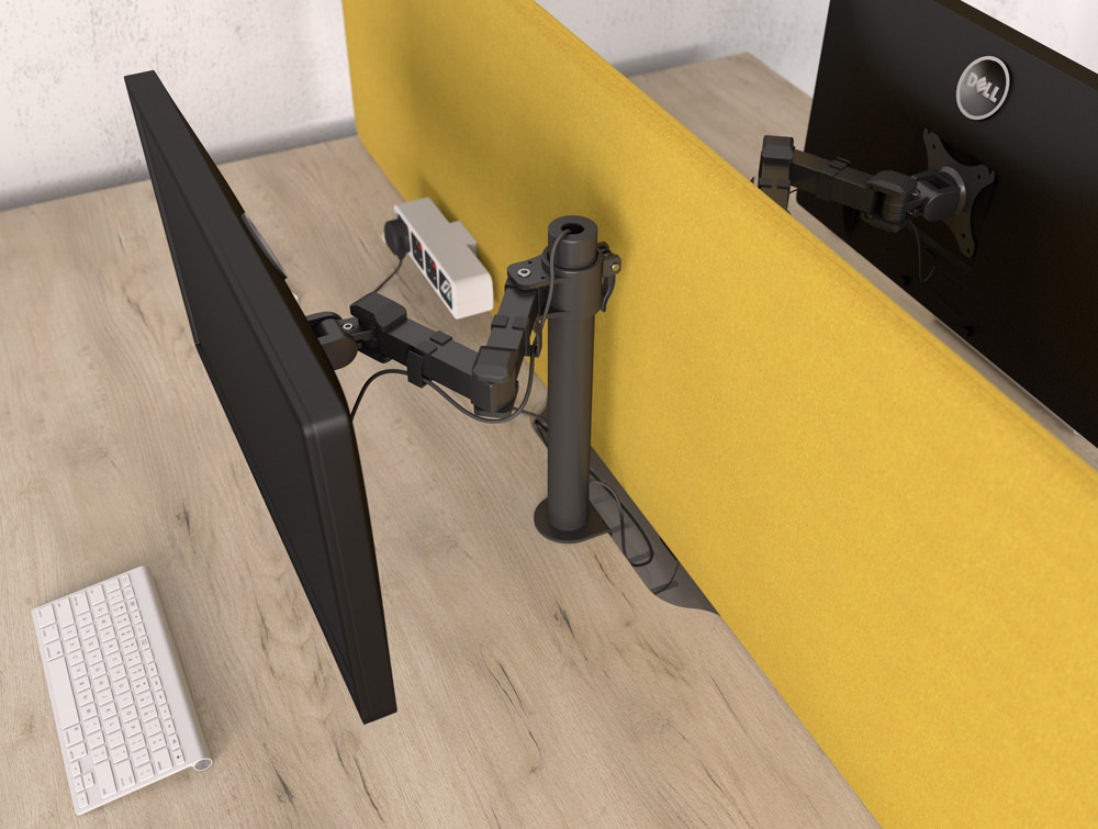 Stealth Single Monitor Arm in Black with Desk and Keyboard