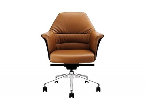 Stelvio Medium Back Meeting Room Armchair in Tanned Leather