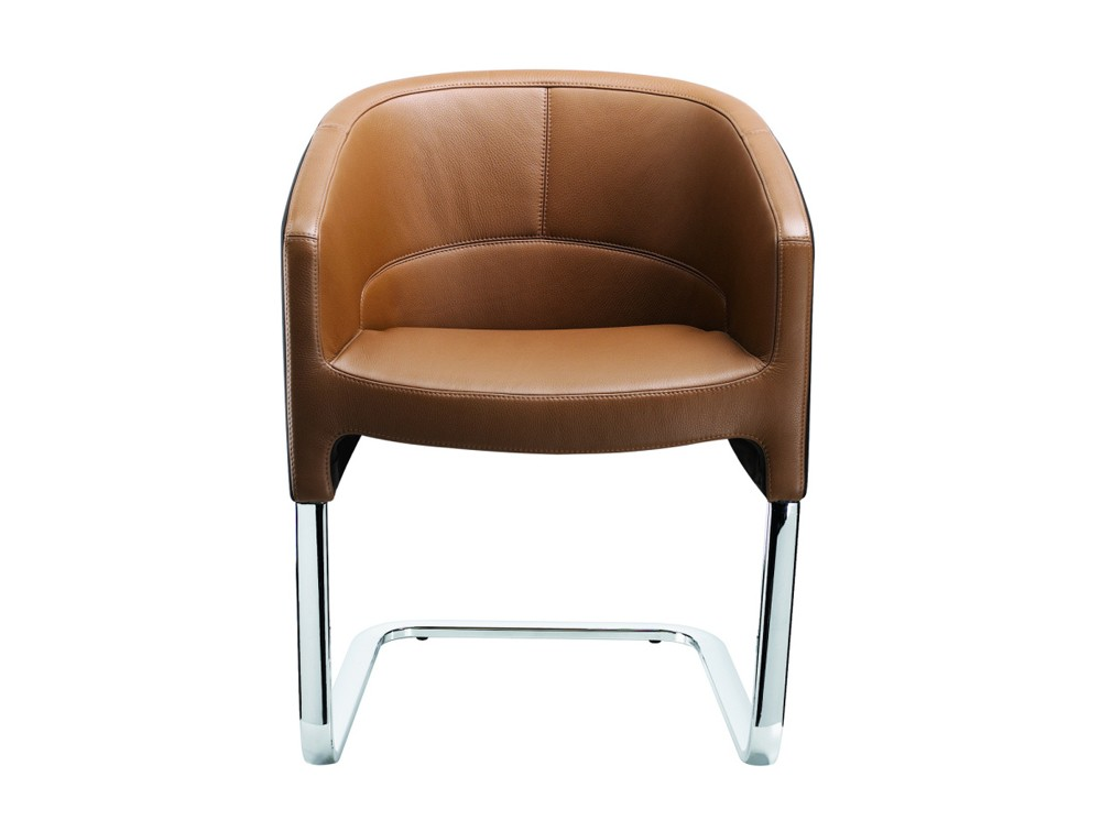 Stelvio cantilever visitors armchair in brown leather front view