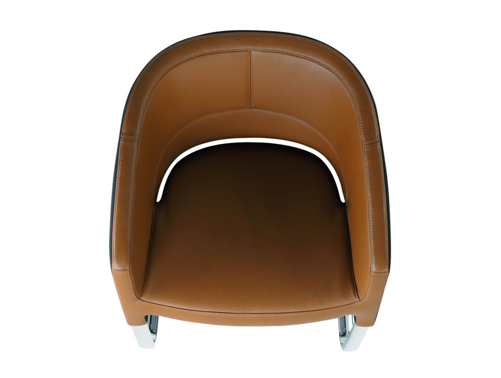 Stelvio cantilever visitors armchair in brown leather view from above