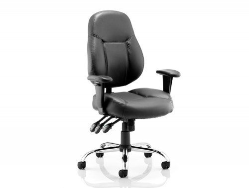 Storm Task Operator Chair Black Bonded Leather With Arms Featured Image