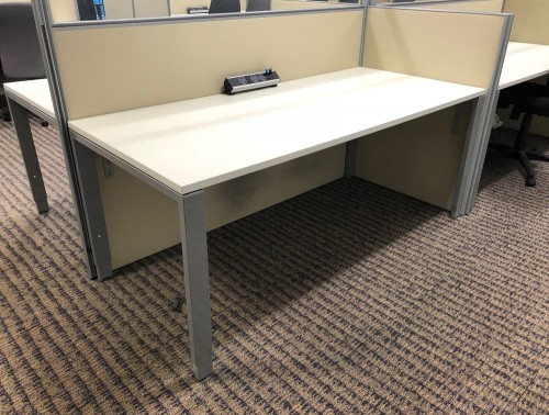 Used Straight White Adjustable Bench Desk with Silver Legs