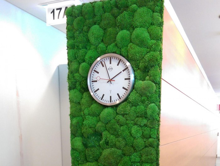 StyleGreen-Preserved-Pole-Moss-Green-Wall-with-Wall-Mounted-Clock