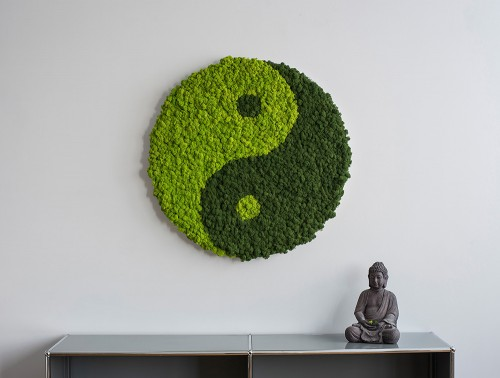 StyleGreen-Yin-Yang-Symbol-Moss-Screen-with-Reindeer-Moss-Wall-Mounted-Above-Buddha-Statue