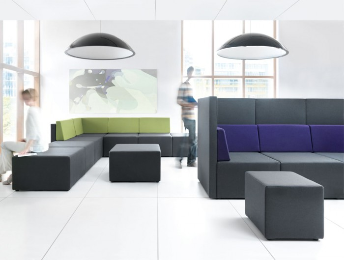 Sunbeam Ceiling Lights for Breakout or Waiting Areas in Black with Modular Sofas Low and High Back with Pouffe
