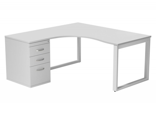 Switch 1 Person Crescent Desk & Desk High Cabinet Closed Leg TT-WH-WHT-L-1-1612 in White