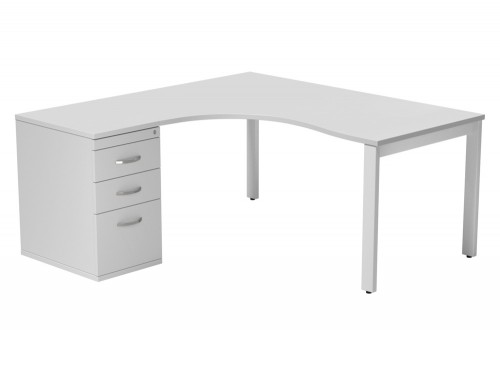 Switch 1 Person Crescent Desk & Desk High Cabinet Open Leg TT-WH-WHT-L-1-1612 in White