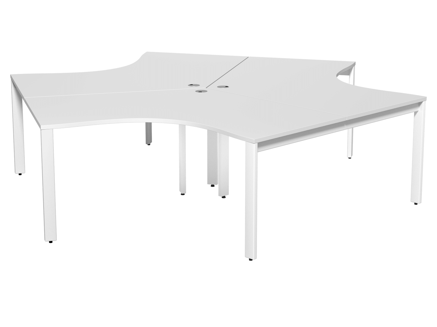 Switch 3-Person 120 Degree Bench with Straight Leg in White
