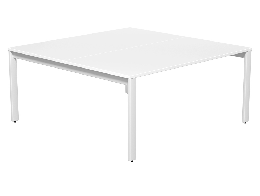 Switch 2-Person Back-to-Back Bench Desk with Straight Leg in White