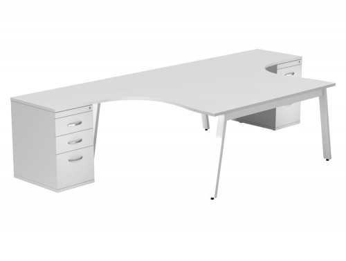 Switch 2 Person Crescent Desk & Desk High Cabinet A-Leg WHT-WH-TT-1-1612 in White