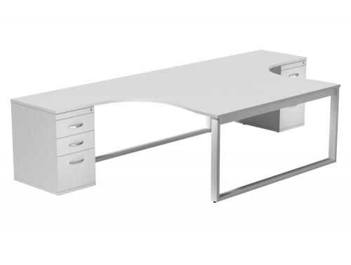 Switch 2 Person Crescent Desk & Desk High Cabinet Closed Leg WHT-WH-TT-1-1612 in White