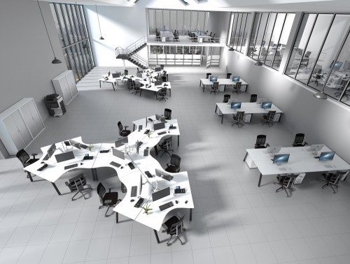 Switch Desking Configuration with White Tops and Black Legs