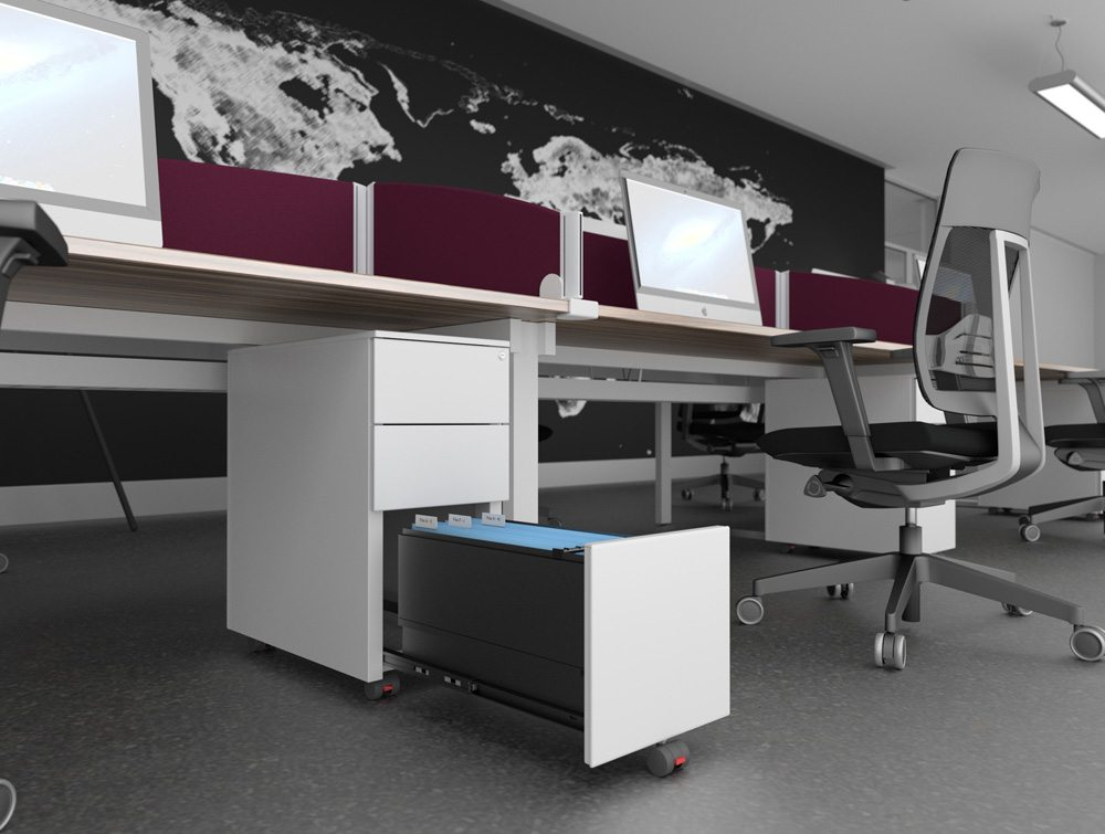 Switch Kito White Filing Cabinet with Burgundy Desk Mounted Screens