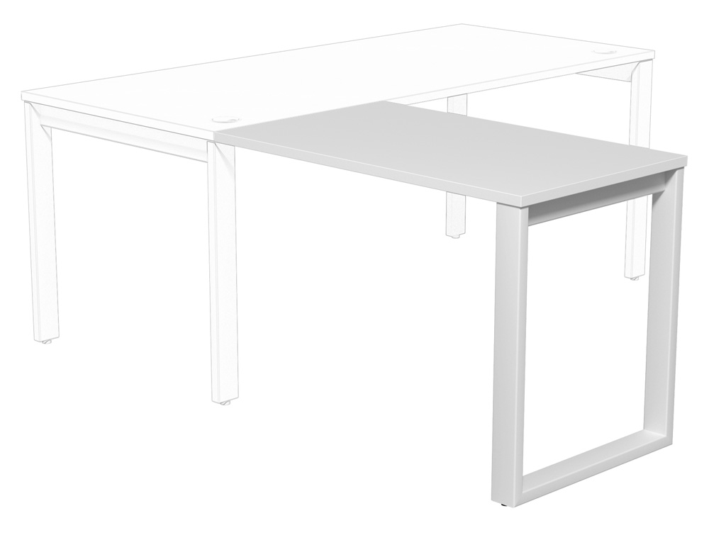 Switch Return Desk with Closed Leg in White