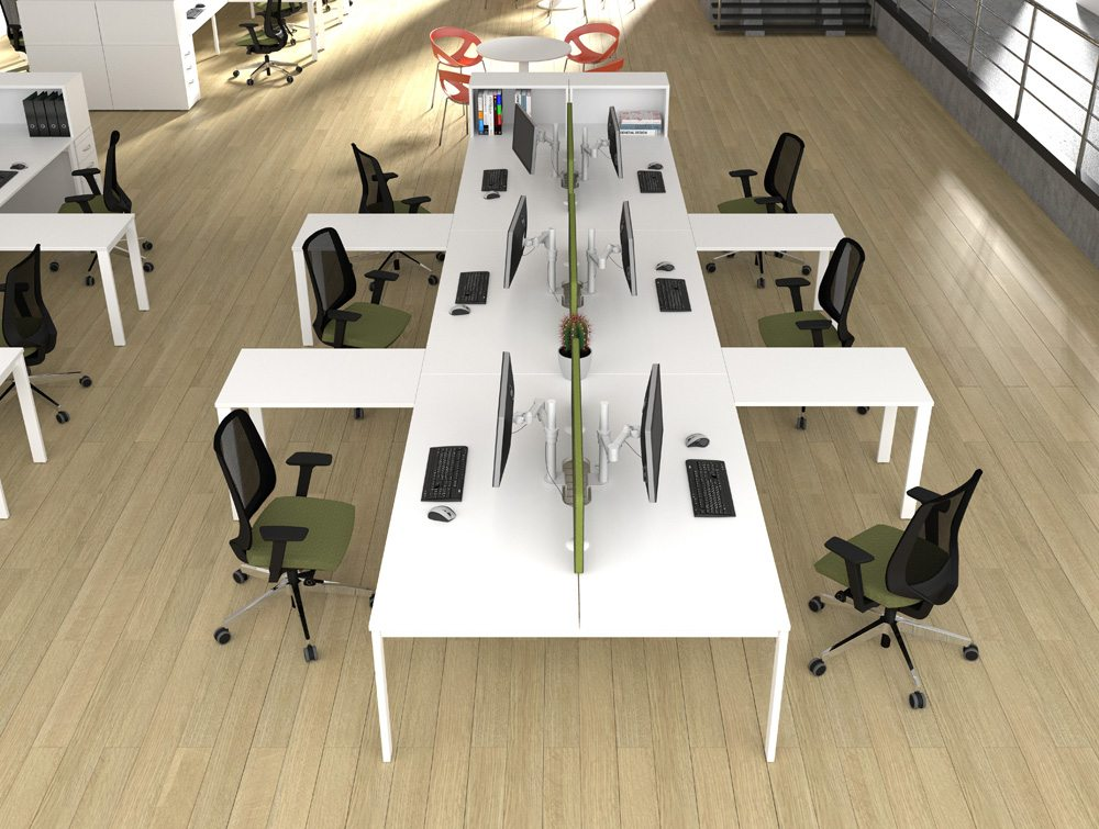 Switch Return White on White Office Desks with Green Mesh Office Chairs