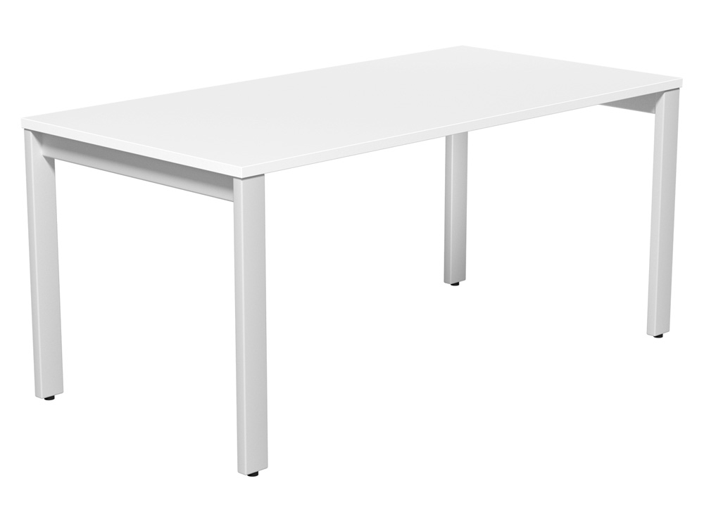 Switch Single Desk with Straight Leg in White