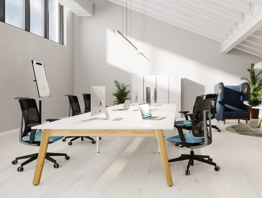 Switch Single Desk with Blue Upholstered Task Chairs and Blue High Back Sofas