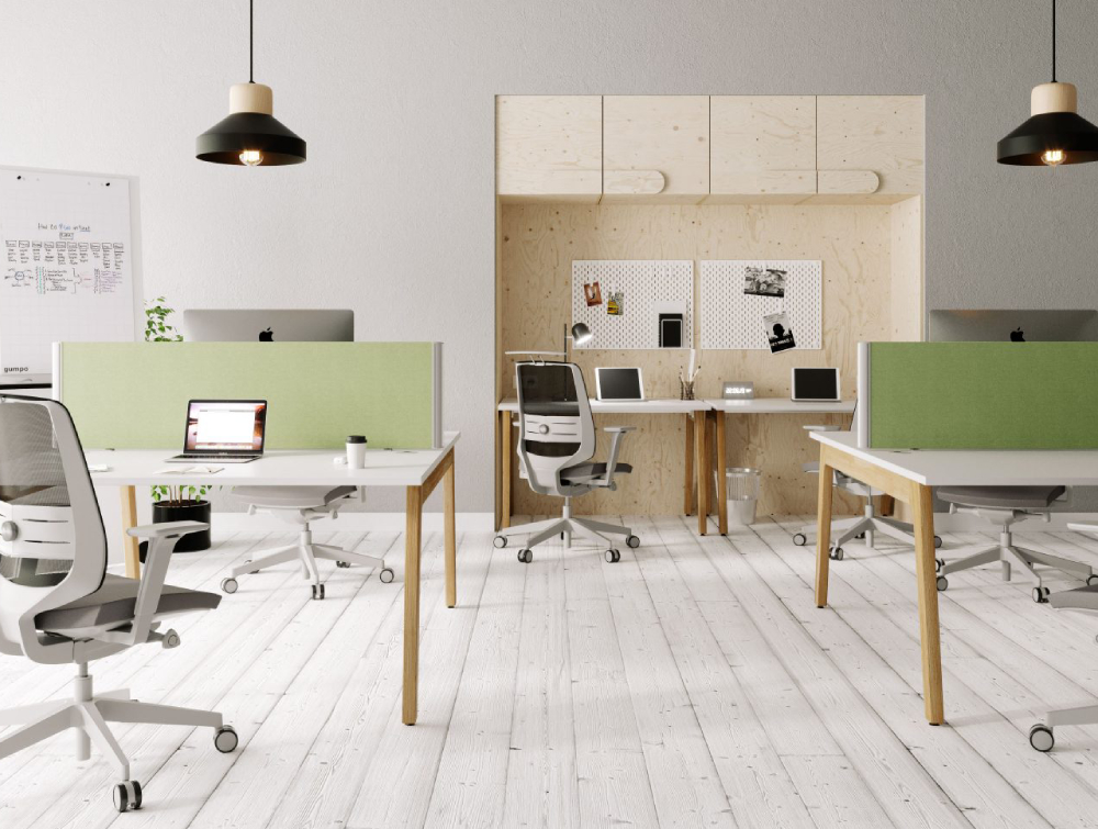 Switch Single Desk with Green Desk Screens and Grey Task ChairsSwitch Single Desk with Green Desk Screens and Grey Task Chairs