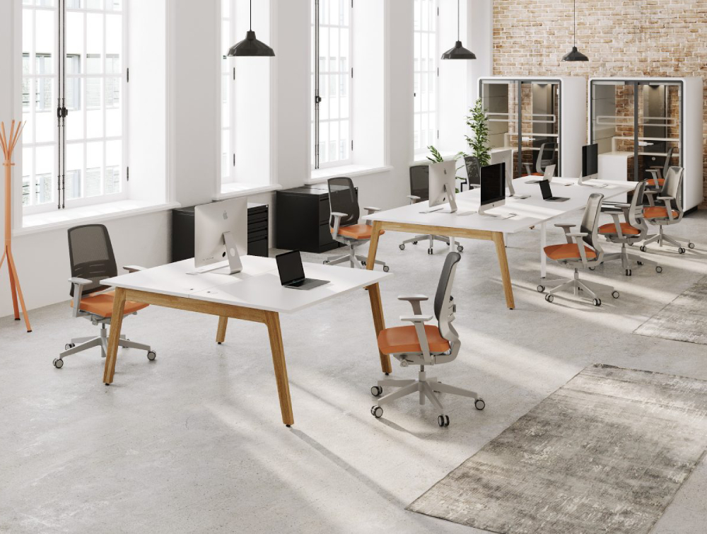 Switch Single Desk with Grey and Orange Task Chairs and White Pods