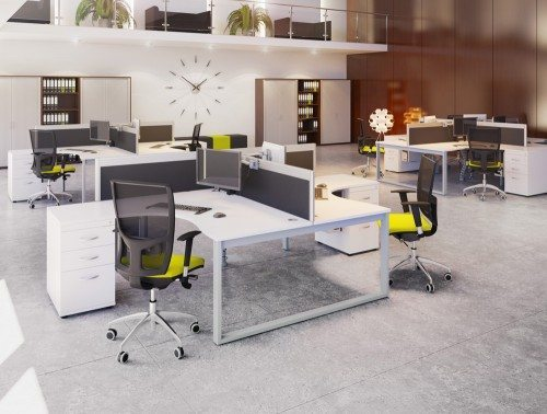 Switch Two Person Crescent Desk in White and Grey with Closed Leg