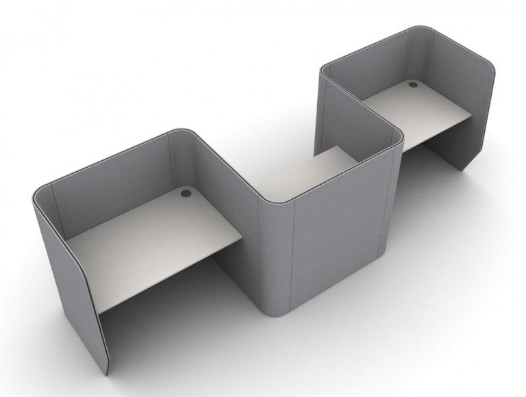 Zone 4 Seater Meeting Pod with Media Table grey color