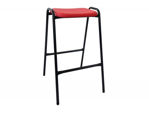 Ted 4 Leg Stackable Classroom and Canteen Stool in Red