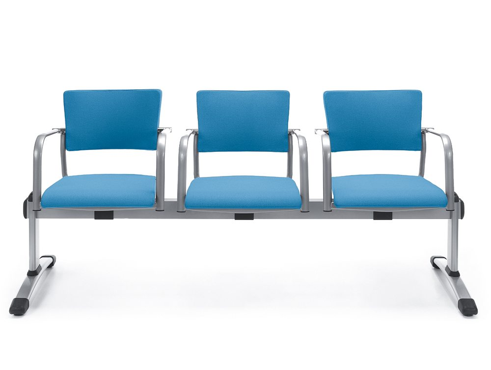 Three Seater Beam Seating in Blue