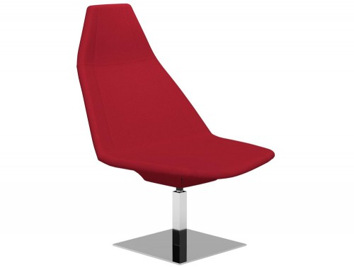 Thunder Square Chrome Base Swivel Armchair E090 Red