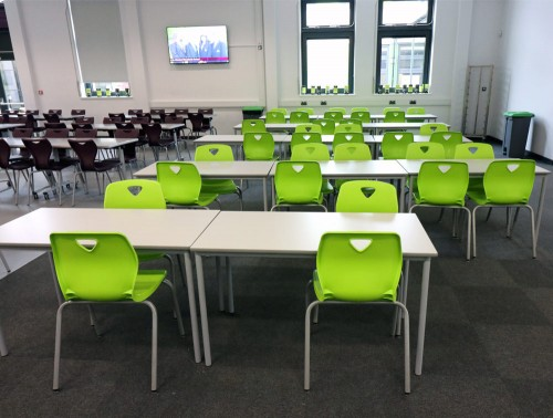 Tony Ergonomic School Classroom Chair for School in Green and Black with Tables