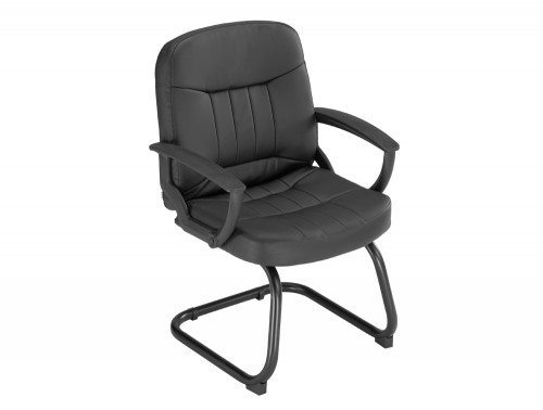 Trexus County Visitor Chair Cantilever in Black Leather