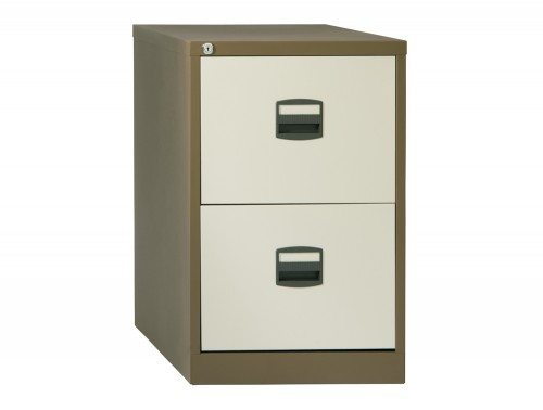 Trexus Filing Cabinet Steel Lockable 2 Drawer in Coffee and Cream