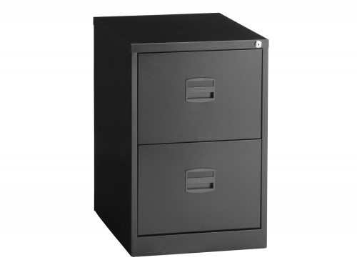 Trexus Filing Cabinet Steel Lockable 2 Drawer in Black