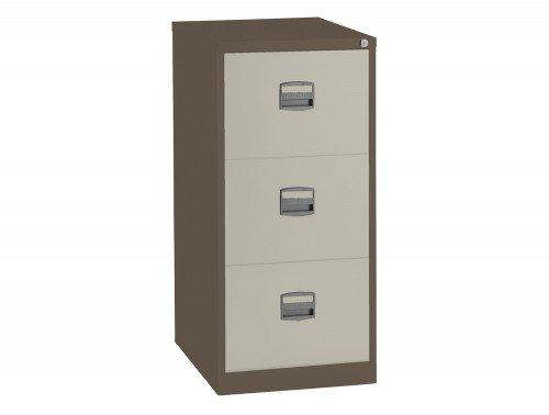 Trexus Filing Cabinet Steel Lockable 3 Drawer in Coffee and Cream