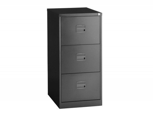 Trexus Filing Cabinet Steel Lockable 3 Drawer in Black