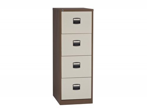 Trexus Filing Cabinet Steel Lockable 4 Drawer in Coffee and Cream