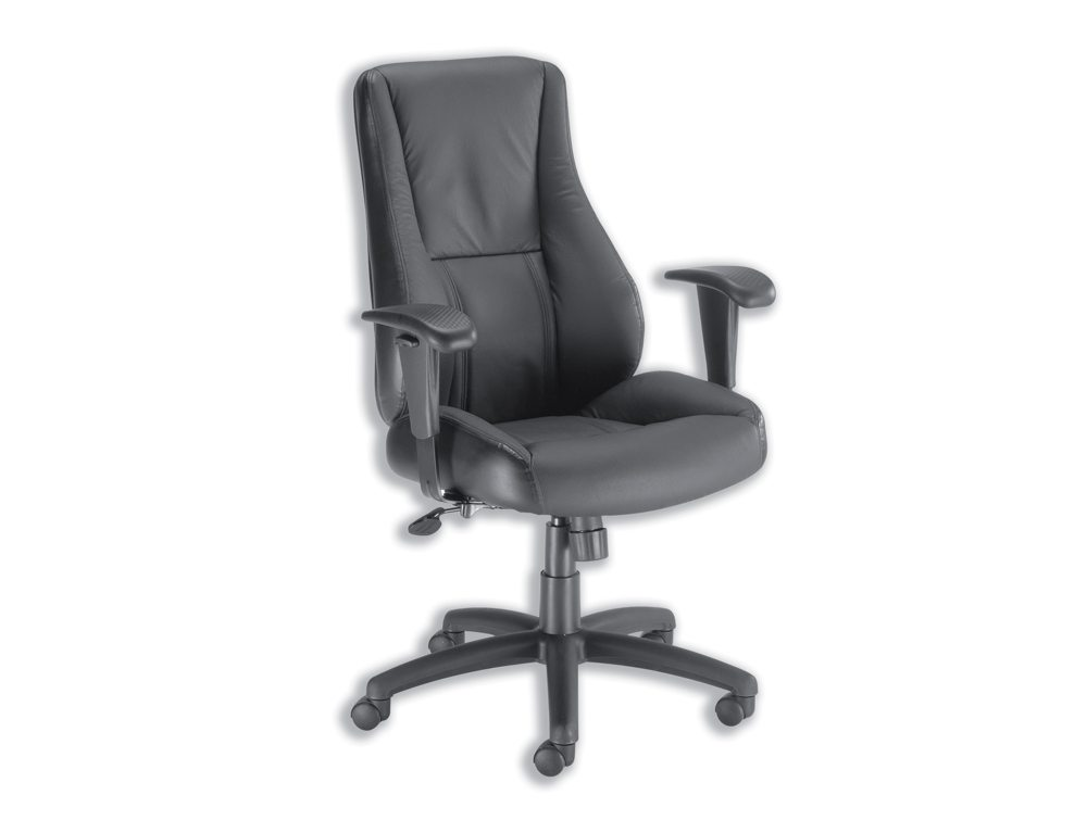 Trexus Hampshire Manager Armchair Adjustable Arms without Headrest in Black Leather