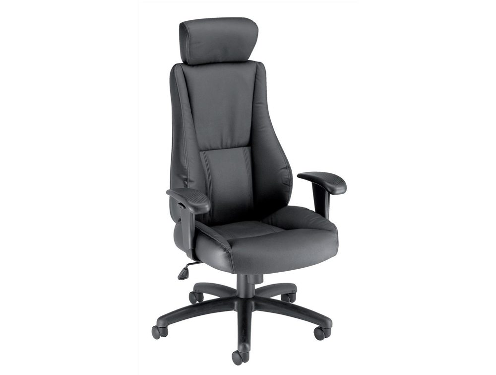 Trexus Hampshire Manager Armchair Adjustable Arms with Headrest in Black Leather