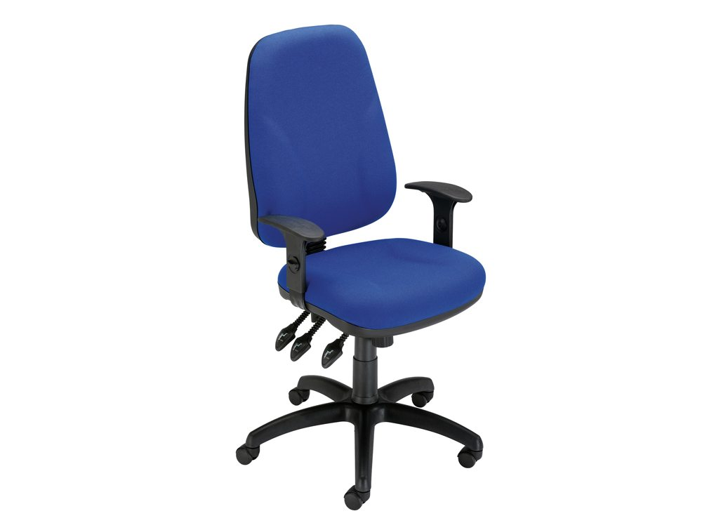 Trexus Intro Maxi Operator Chair Asynchronous High Back with Adjustable Armrest in Blue