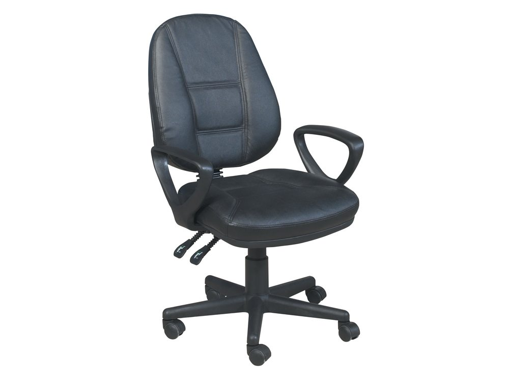 Trexus Intro Operators Chair PCB High Back with Armrest in Black Leather
